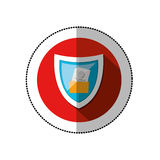 Colorful middle shadow sticker with circle with shield and folder skull and bones Royalty Free Stock Photography