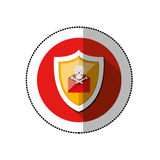 Colorful middle shadow sticker with circle with shield and red mail skull and bones Stock Image