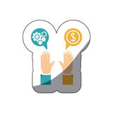 Colorful middle shadow sticker with hands dialogue spheres with pinions and money symbol Stock Photos