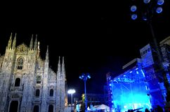 Colorful midnight view to Duomo square during New Year's concert. Stock Photography