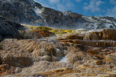 Colorful Mineral Deposits in Yellowstone National Park Royalty Free Stock Images