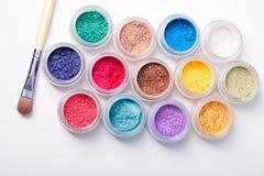 Colorful mineral eyeshadows Stock Photos