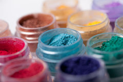 Colorful mineral eyeshadows Stock Images