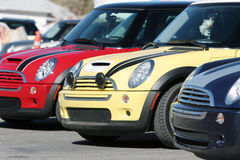 Colorful Mini Cooper Cars Stock Photography