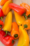 Colorful Mini Sweet Bell Peppers Close Up From Above Stock Photo