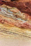 Colorful miniral layers. Colorful layers at Ramon Crator, Israel Stock Image