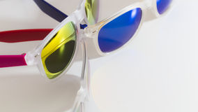 Colorful mirror sunglasses close up Stock Images