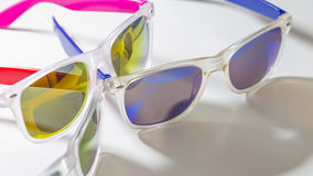 Colorful mirror sunglasses close up Royalty Free Stock Photos