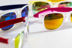 Colorful mirror sunglasses close up Royalty Free Stock Photography