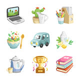 Colorful miscellaneous icons collection. Collection of 9 colorful cartoon vector miscellaneous icons Royalty Free Stock Image