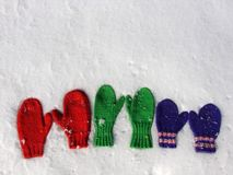 Colorful mittens on snow. Mitten family. Three pairs handknit mittens on fresh snow Stock Image