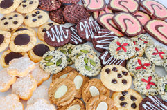 Colorful mix of decorated cookies. Royalty Free Stock Images