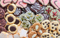 Colorful mix of decorated cookies. Stock Image