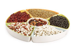Colorful mix of dried legumes. On white background Stock Photo