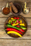 Colorful mix of the freshest and hottest chili peppers Stock Images