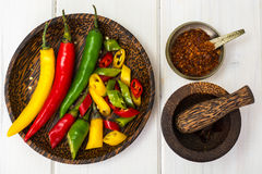 Colorful mix of the freshest and hottest chili peppers Royalty Free Stock Photos
