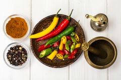 Colorful mix of the freshest and hottest chili peppers Stock Image