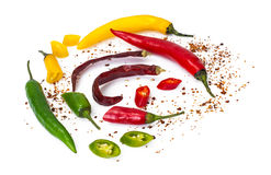 Colorful mix of the freshest and hottest chili peppers Royalty Free Stock Image