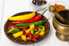 Colorful mix of the freshest and hottest chili peppers Royalty Free Stock Photo