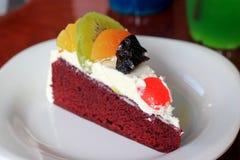 Colorful mix fruit chocolate cake Royalty Free Stock Photography