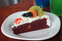 Colorful mix fruit chocolate cake Royalty Free Stock Image