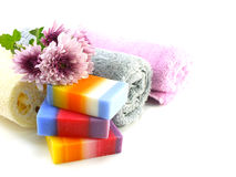 Colorful mix fruit soap with towel and luffa for cleaning stock photos