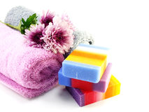 Colorful mix fruit soap with towel and luffa for cleaning royalty free stock photo