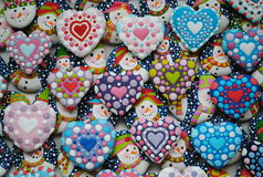 Colorful Mix Of Honey  Cookies , Heart and Snowman   shaped. Mixed Colorful Christmas Cookies ,Heart and Snowman  shaped, honey cookies , for children , cookies Stock Photography