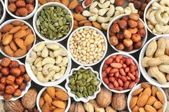 Colorful mix of nut and seed varieties: peanut, cashew, hazelnut, almond, pine nuts, walnut, pumpkin seeds; healthy diet snack; ve royalty free stock image