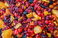 Colorful mix of raisins, apricots and other dried fruits Royalty Free Stock Images