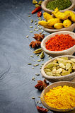 Colorful mix of spices on stone background Stock Photography