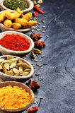 Colorful mix of spices stock photo