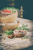 Colorful mix of various spices and herbs Royalty Free Stock Photo