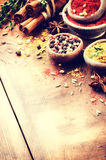 Colorful mix of various spices and herbs Stock Photo