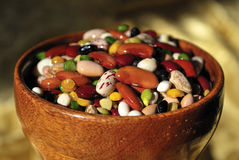 Colorful Mixed Beans in Wooden Bowl Stock Photo