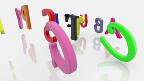 Colorful mixed different letters on white stock video footage