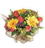 Colorful mixed floral bouquet yellow gerbera, orange roses, lily. Floristic composition arrangement, floral bouquet includes yellow gerbera, orange roses, lily stock images