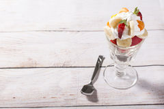 Colorful mixed fruits ice cup Royalty Free Stock Photo