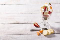 Colorful mixed fruits ice cup Royalty Free Stock Images