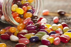 Colorful Mixed Fruity Jelly Beans. On a background royalty free stock photo