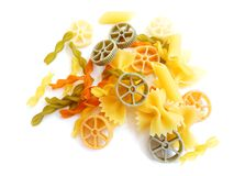 Colorful mixed pasta shapes Royalty Free Stock Photography