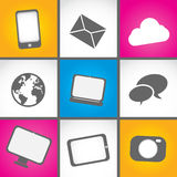 Colorful mobile icons Stock Image