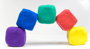 Colorful modeling clay Stock Images