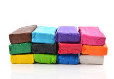Colorful modeling clay or plasticine for children Stock Photos