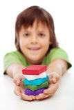 Colorful modelling clay blocks in boy hands Stock Image