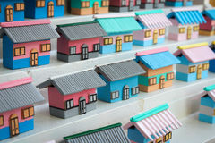 Colorful models of houses Stock Photography