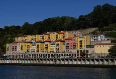 Colorful Modern Apartment. A river view of modern urban apartments located in a historical city of Porto Portugal Stock Photo