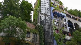 Colorful modern architecture of Hundertwasser house stock video