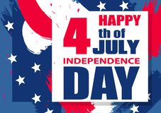 Colorful modern background for Independence Day USA 4th July for poster or banner horizontal template. Vector. Illustration Royalty Free Stock Images