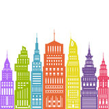 Colorful Modern Big City Stock Photo
